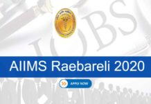 AIIMS Raebareli Recruitment 2020